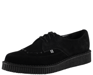 A8138 Black Suede Leather Pointed Creepers