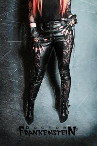 Dr. Frankenstein - Black Vinyl & Lace Pants with Studs