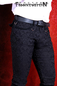 Black Brocade Mens Skinny Pants