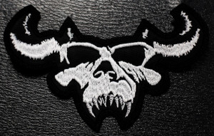 """Danzig Shaped Skull Logo 5x2"""" Embroidered Patch"""