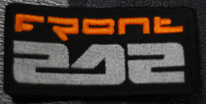 """Front 242 Orange Logo  4x2"""" Embroidered Patch"""