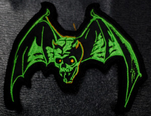 """Overkill Skull Bat 5x4"""" Embroidered Patch"""