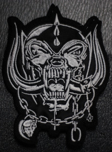 """Motorhead- Shaped White Warpig 3x4.5"""" Embroidered Patch"""