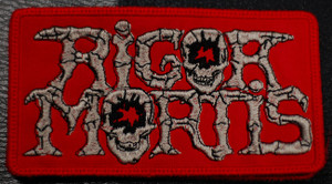 """Rigor Mortis Red Logo 4x2.5"""" Embroidered Patch"""
