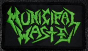 """Municipal Waste Green Logo 4.5x2.5"""" Embroidered Patch"""