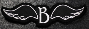 """Blutengel Shaped Wings Logo 4x1.5"""" Embroidered Patch"""