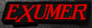 """Exumer Red Logo 5x1.5"""" Embroidered Patch"""