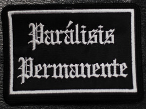 "Paralisis Permanente Square Logo 4x2"" Embroidered Patch"