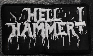 "Hellhammer - White Logo 5x2"" Embroidered Patch"