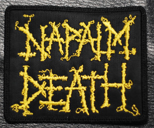 """Napalm Death Yellow Logo 4x3"""" Embroidered Patch"""