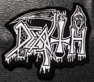 """Death Shaped White Logo 3x1.5"""" Embroidered Patch"""
