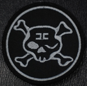"""Combichrist Round Skull GREY Logo 3x3"""" Embroidered Patch"""