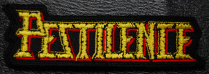 "Pestilence Shaped Logo 4x1.5"" Embroidered Patch"