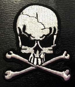"""Skull & Crossbones Shaped 3x5"""" Embroidered Patch"""