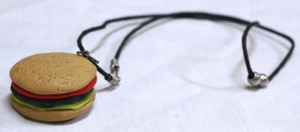 "Hamburger Shaped 1.5x1"" Metal Pendant"