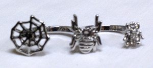 "Spiders & Cobweb Metal 2x1"" Two-Finger Ring"
