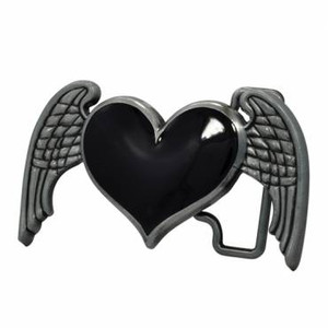 Winged Heart - Small Metal Belt Buckle