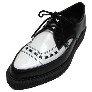 T.U.K. Shoes - A8140 Black & White Leather Tie Pointed Toe Creepers