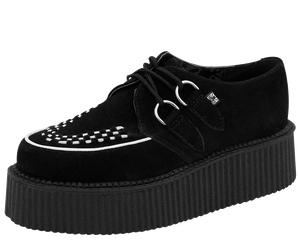 T.U.K. Shoes - V8366 Black & White Suede Creepers