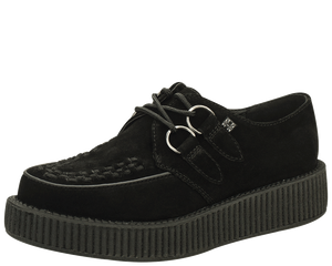 T.U.K. Shoes - V7270 Black Suede Low Sole Viva Creepers