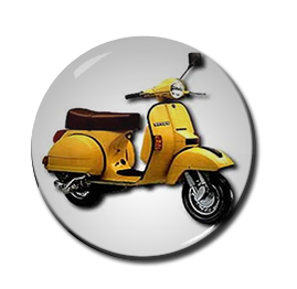 "Yellow Scooter 1"" Pin"