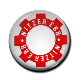 "Nitzer Ebb - White Gear Logo 1"" Pin"