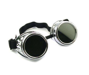 Plain Welding Goggles - Silver Chrome
