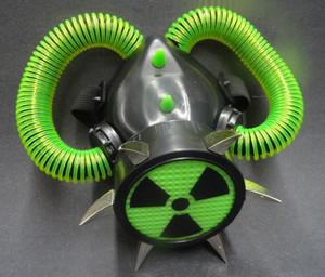 Respirator - Neon Green Hazard with  Spikes & Tubes