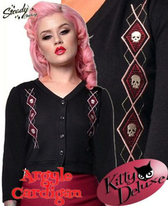 Black Cardigan with Argyle Skull Embroidery
