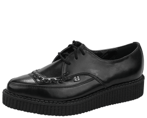 A8533 Black Leather Lace Up Pointed Creepers
