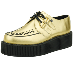 T.U.K. Shoes - A8648 Gold Leather Metallic Viva Mondo Creepers