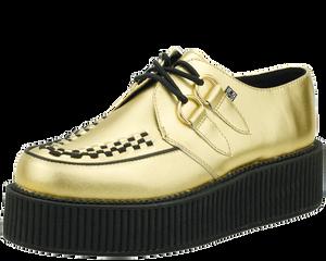 T.U.K. Shoes - A8648 Gold Leather Metallic Viva Mondo Creepers