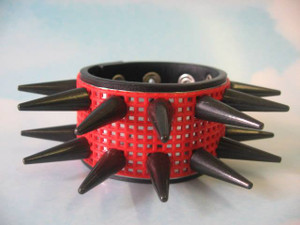 Spiked Red Mesh Cuff Bracelet