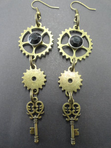 Clockwork and Key Pendant Earrings