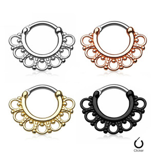 Tribal Fan 316L Surgical Steel Septum Clicker