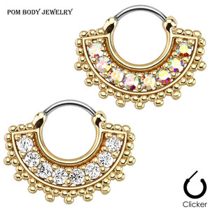 Gem Tribal Fan Septum Clicker in Gold