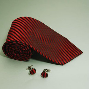 Red and Black Striped Skinny Satin Neck Tie