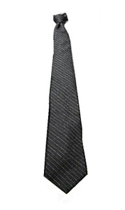 Grey Striped Skinny Polyester Neck Tie