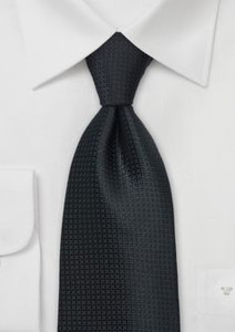Black Patterned Skinny Polyester Neck Tie