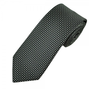 Black & White Patterned Skinny Polyester Neck Tie
