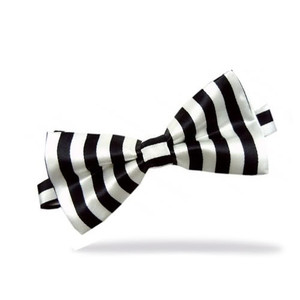 Black and White Vertical Striped Bow Tie