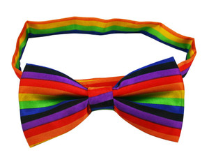 Rainbow Striped Bow Tie