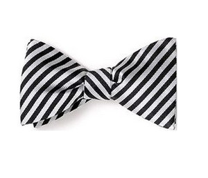 Black and White Diagonal Striped Bow Tie