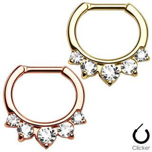 5 Clear CZ Princess Septum Clicker