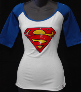 Superman Logo 3/4 Sleeve Girls T-Shirt