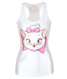 Marie Cat White Tank Top