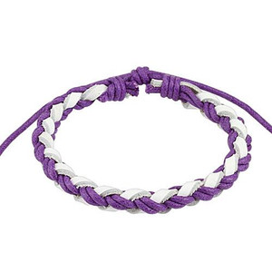 Purple and White Weaved Bracelet