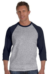 Gildan Raglan T-Shirt Heather Grey 3/4 Sleeves