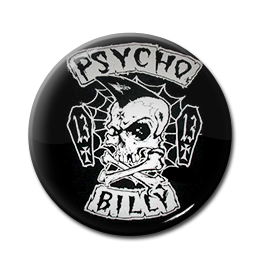 "Psychobilly Skull & Cross Bones 1"" Pin"