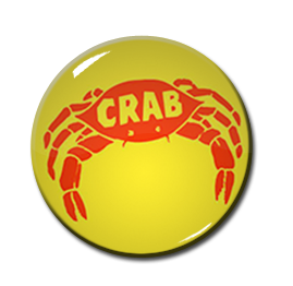 "Crab Records 1"" Pin"